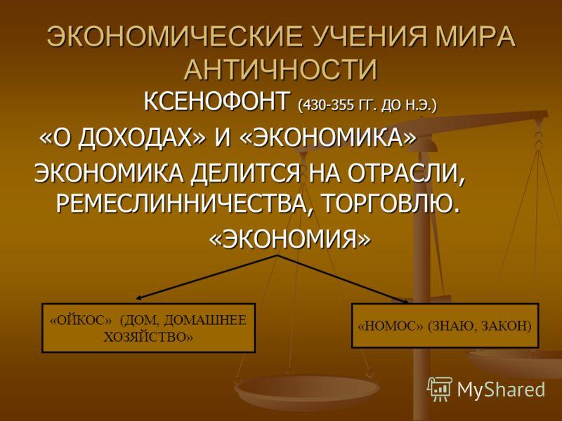 КСЕНОФОНТ (430-355 ГГ. ДО Н.Э.) «О ДОХОДАХ» И «ЭКОНОМИКА» «О ДОХОДАХ» И «ЭКОНОМИКА» ЭКОНОМИКА ДЕЛИТСЯ НА ОТРАСЛИ, РЕМЕСЛИННИЧЕСТВА, ТОРГОВЛЮ. «ЭКОНОМИЯ» ЭКОНОМИЧЕСКИЕ УЧЕНИЯ МИРА АНТИЧНОСТИ «ОЙКОС» (ДОМ, ДОМАШНЕЕ ХОЗЯЙСТВО» «НОМОС» (ЗНАЮ, ЗАКОН)