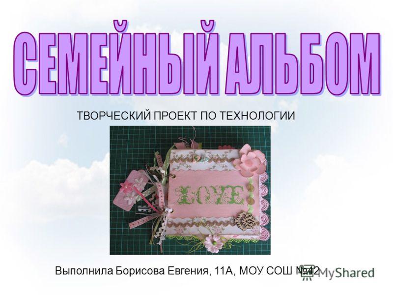 ТВОРЧЕСКИЙ ПРОЕКТ ПО ТЕХНОЛОГИИ Выполнила Борисова Евгения, 11А, МОУ СОШ 42