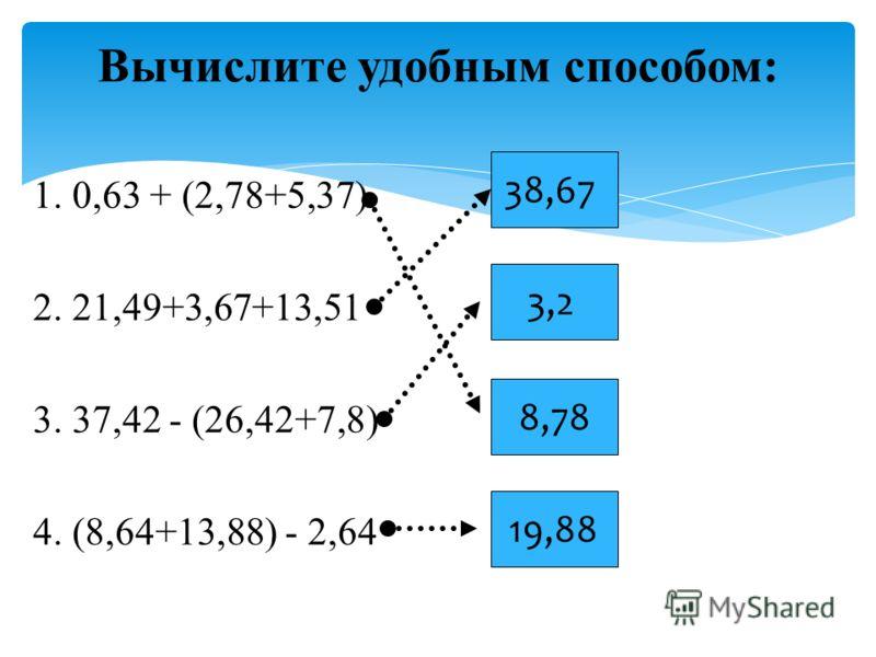 1. 0,63 + (2,78+5,37) 2. 21,49+3,67+13,51 3. 37,42 - (26,42+7,8) 4. (8,64+13,88) - 2,64 Вычислите удобным способом: 38,67 3,2 8,78 19,88