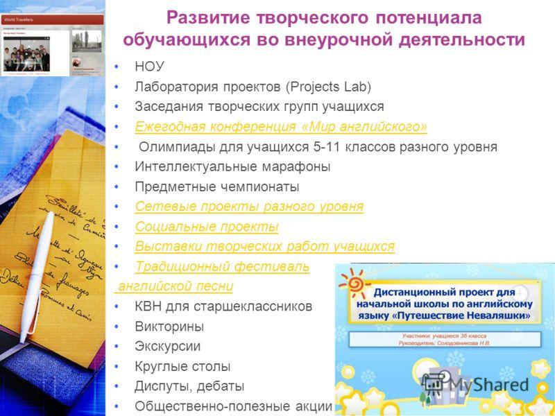 Развитие творческого потенциала обучающихся во внеурочной деятельности НОУ Лаборатория проектов (Projects Lab) Заседания творческих групп учащихся Ежегодная конференция «Мир английского» Олимпиады для учащихся 5-11 классов разного уровня Интеллектуал