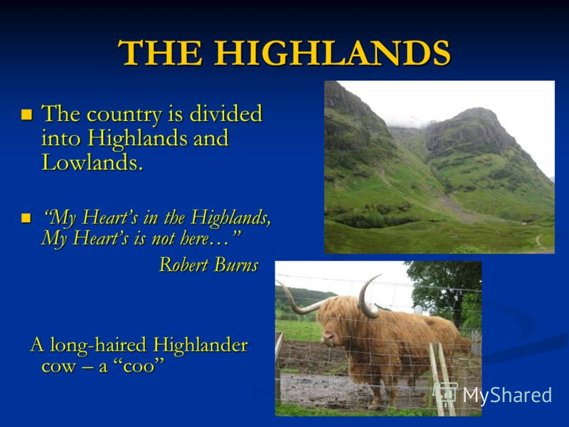 THE HIGHLANDS The country is divided into Highlands and Lowlands. The country is divided into Highlands and Lowlands. My Hearts in the Highlands, My Hearts is not here… My Hearts in the Highlands, My Hearts is not here… Robert Burns Robert Burns A lo