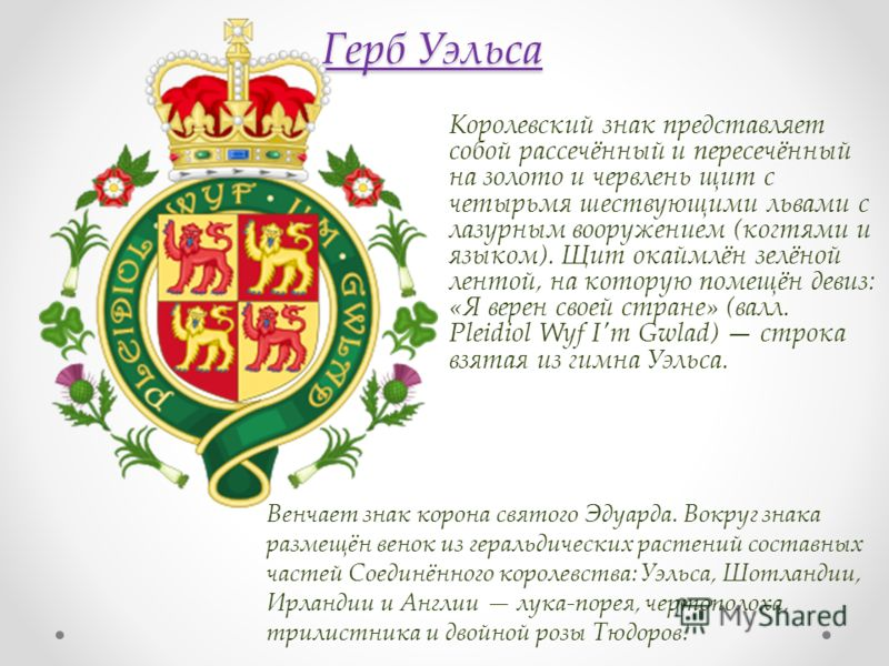 Герб Уэльса Королевский знак представляет собой рассечённый и пересечённый на золото и червлень щит с четырьмя шествующими львами с лазурным вооружением (когтями и языком). Щит окаймлён зелёной лентой, на которую помещён девиз: «Я верен своей стране»