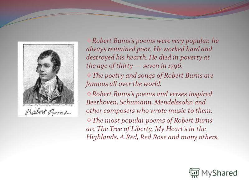 Robert Bums's poems were very popular, he always remained poor. He worked hard and destroyed his hearth. He died in poverty at the age of thirty seven in 1796. The poetry and songs of Robert Burns are famous all over the world. Robert Bums's poems an