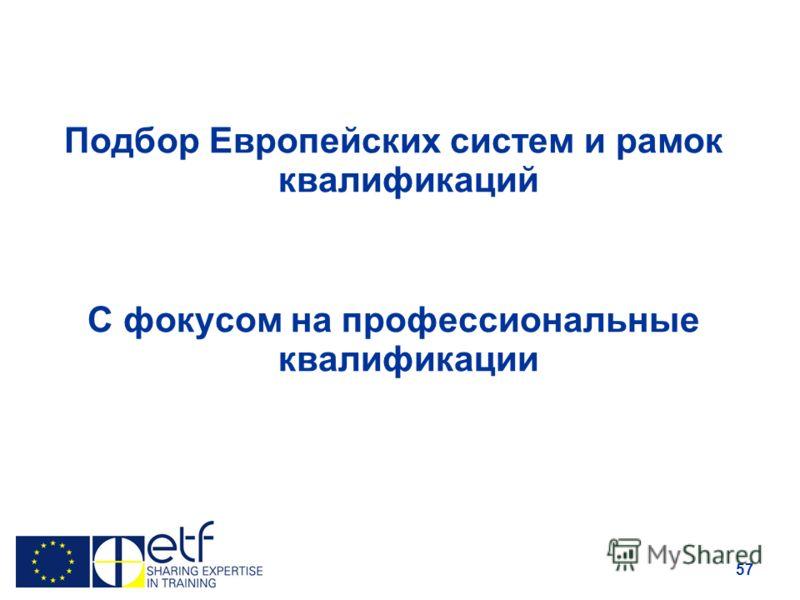 57 Подбор Европейских систем и рамок квалификаций С фокусом на профессиональные квалификации