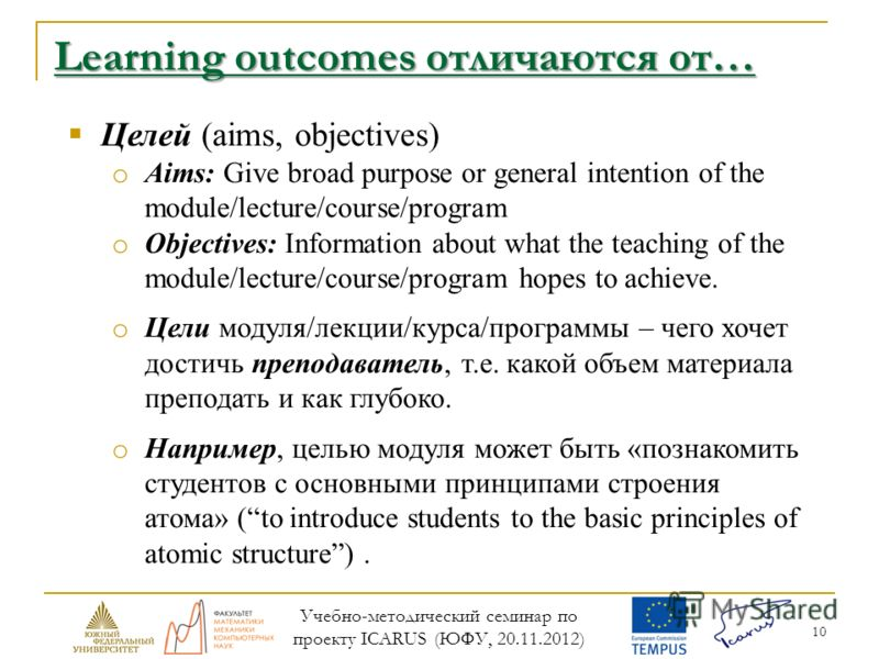 10 Learning outcomes отличаются от… Целей (aims, objectives) o Aims: Give broad purpose or general intention of the module/lecture/course/program o Objectives: Information about what the teaching of the module/lecture/course/program hopes to achieve.