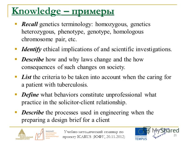 21 – примеры Knowledge – примеры Recall genetics terminology: homozygous, genetics heterozygous, phenotype, genotype, homologous chromosome pair, etc. Identify ethical implications of and scientific investigations. Describe how and why laws change an