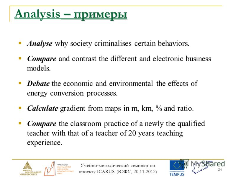 24 – примеры Analysis – примеры Analyse why society criminalises certain behaviors. Compare and contrast the different and electronic business models. Debate the economic and environmental the effects of energy conversion processes. Calculate gradien