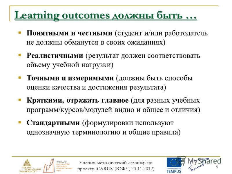 9 Learning outcomes должны быть … Понятными и честными (студент и/или работодатель не должны обманутся в своих ожиданиях) Реалистичными (результат должен соответствовать объему учебной нагрузки) Точными и измеримыми (должны быть способы оценки качест