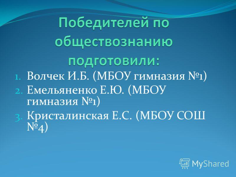 1. Волчек И.Б. (МБОУ гимназия 1) 2. Емельяненко Е.Ю. (МБОУ гимназия 1) 3. Кристалинская Е.С. (МБОУ СОШ 4)