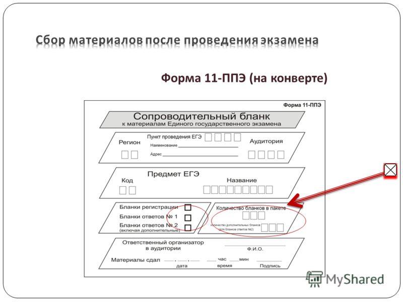 Форма 11- ППЭ ( на конверте )