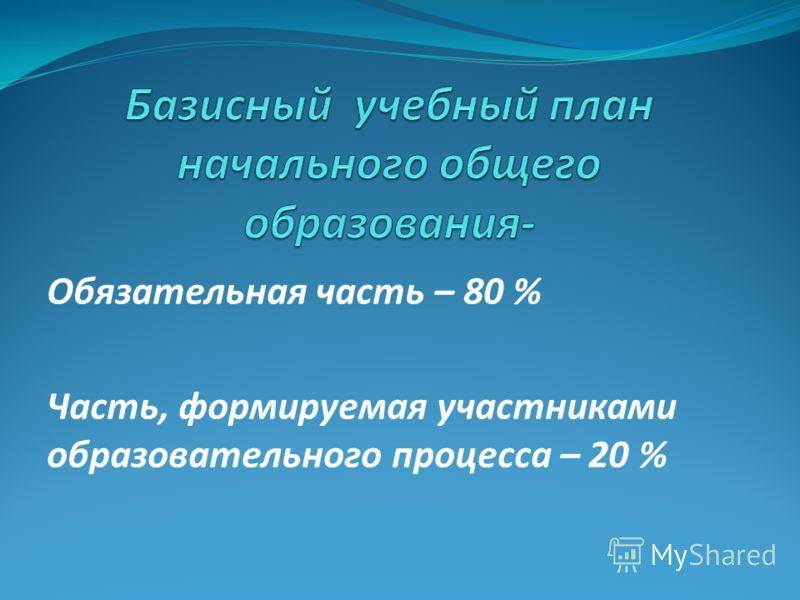 Обязательная часть – 80 % Часть, формируемая участниками образовательного процесса – 20 %