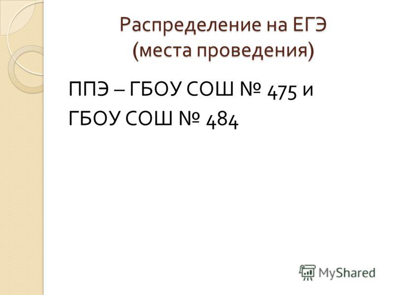 Распределение на ЕГЭ ( места проведения ) ППЭ – ГБОУ СОШ 475 и ГБОУ СОШ 484