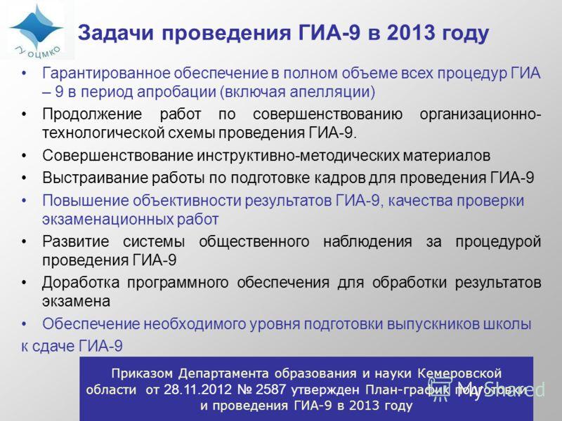 Задачи проведения ГИА-9 в 2013 году Гарантированное обеспечение в полном объеме всех процедур ГИА – 9 в период апробации (включая апелляции) Продолжение работ по совершенствованию организационно- технологической схемы проведения ГИА-9. Совершенствова