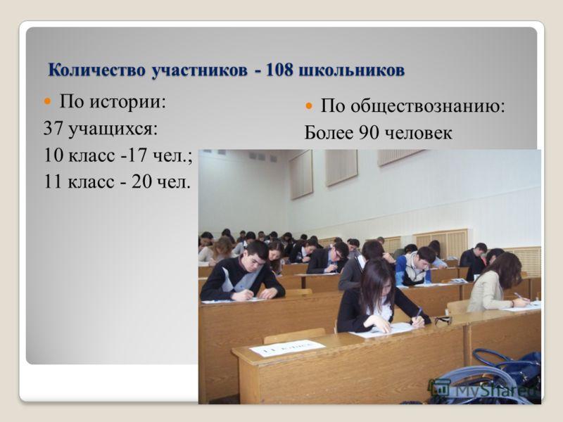 Количество участников - 108 школьников По истории: 37 учащихся: 10 класс -17 чел.; 11 класс - 20 чел. По обществознанию: Более 90 человек
