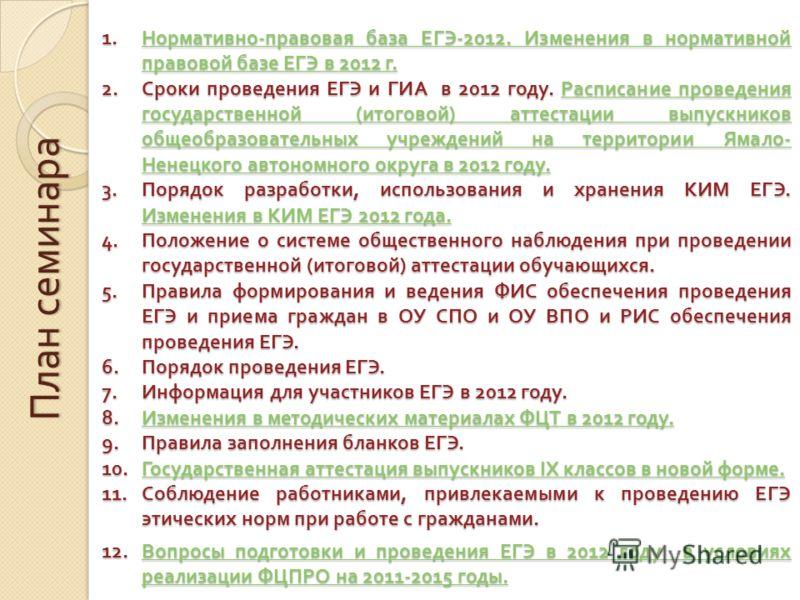 План семинара 1.Нормативно - правовая база ЕГЭ -2012. Изменения в нормативной правовой базе ЕГЭ в 2012 г. Нормативно - правовая база ЕГЭ -2012. Изменения в нормативной правовой базе ЕГЭ в 2012 г.Нормативно - правовая база ЕГЭ -2012. Изменения в норма