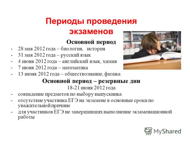 Основной период -28 мая 2012 года – биология, история -31 мая 2012 года – русский язык -4 июня 2012 года – английский язык, химия -7 июня 2012 года – математика -13 июня 2012 года – обществознание, физика Основной период – резервные дни 18-21 июня 20