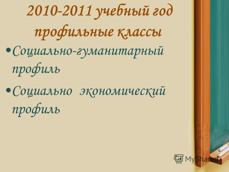 2010-2011 учебный год профильные классы Социально-гуманитарный профиль Социально экономический профиль