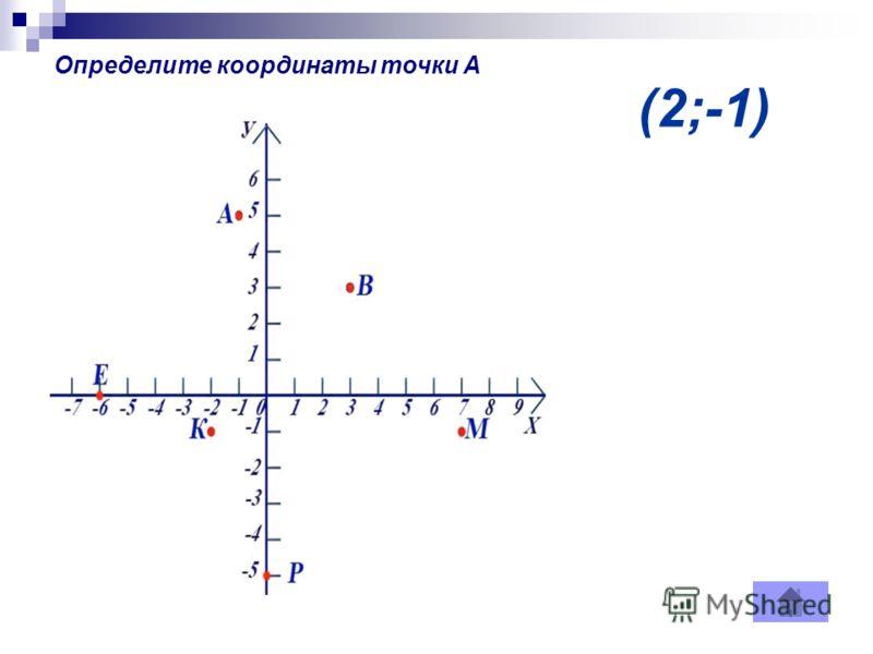 (2;-1) Определите координаты точки А