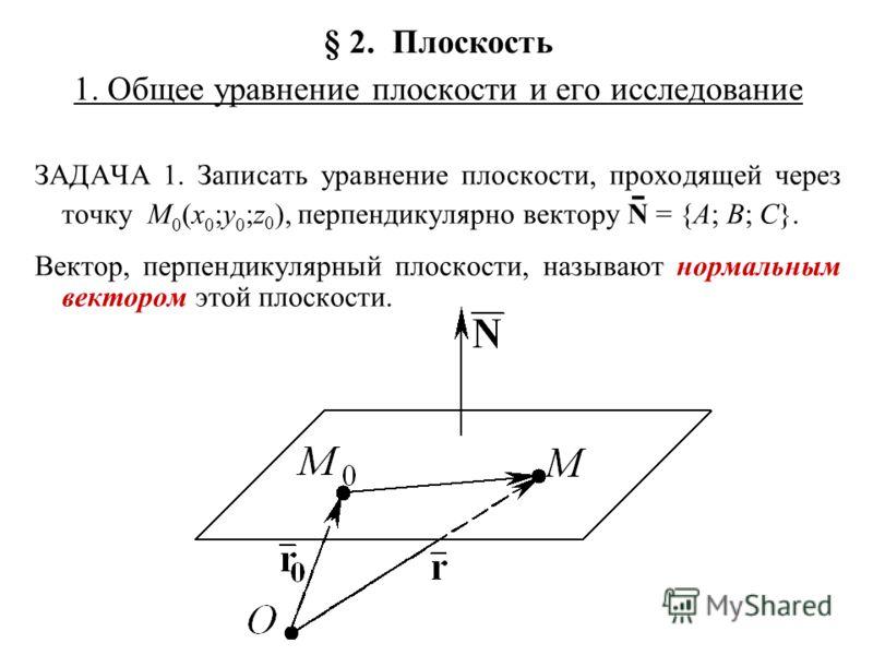 § 2. Плоскость 1. Общее уравнение плоскости и его исследование ЗАДАЧА 1. Записать уравнение плоскости, проходящей через точку M 0 (x 0 ;y 0 ;z 0 ), перпендикулярно вектору N ̄ = {A; B; C}. Вектор, перпендикулярный плоскости, называют нормальным векто