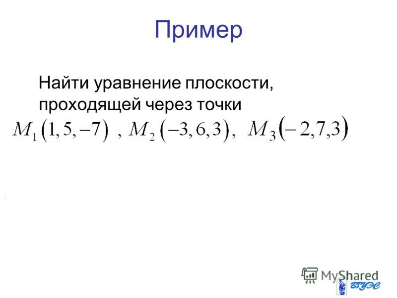 Пример Найти уравнение плоскости, проходящей через точки.