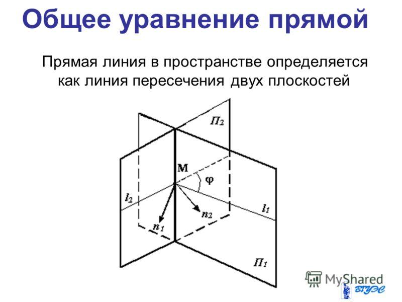 Общее уравнение прямой Прямая линия в пространстве определяется как линия пересечения двух плоскостей
