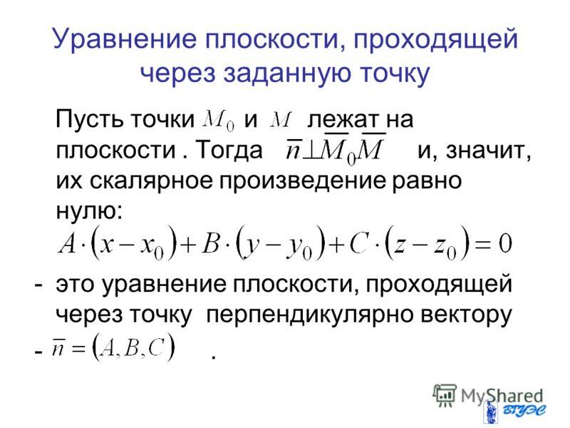 Уравнение плоскости, проходящей через заданную точку Пусть точки и лежат на плоскости. Тогда и, значит, их скалярное произведение равно нулю: -это уравнение плоскости, проходящей через точку перпендикулярно вектору -.