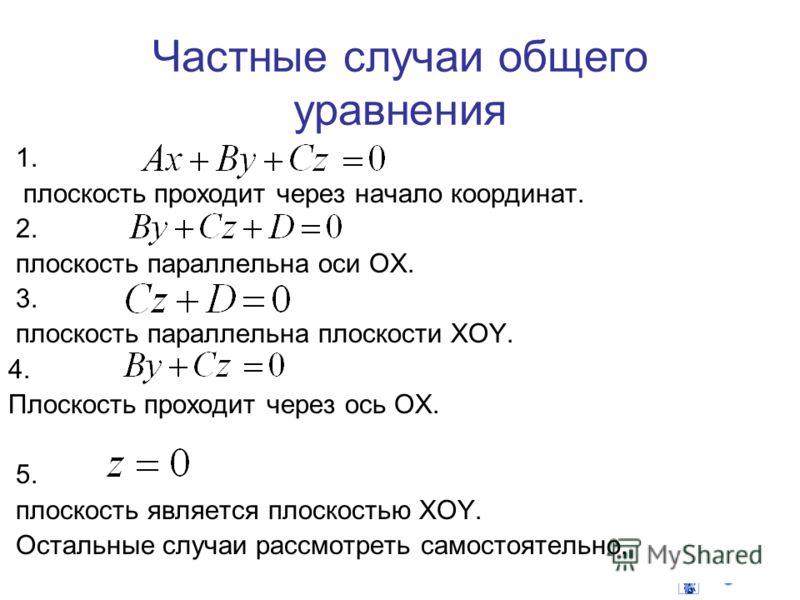 Частные случаи общего уравнения 1. плоскость проходит через начало координат. 2. плоскость параллельна оси OX. 3. плоскость параллельна плоскости XOY. 4. Плоскость проходит через ось OX. 5. плоскость является плоскостью XOY. Остальные случаи рассмотр
