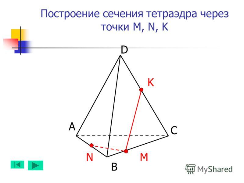 Построение сечения тетраэдра через точки M, N, K А B D C NM K
