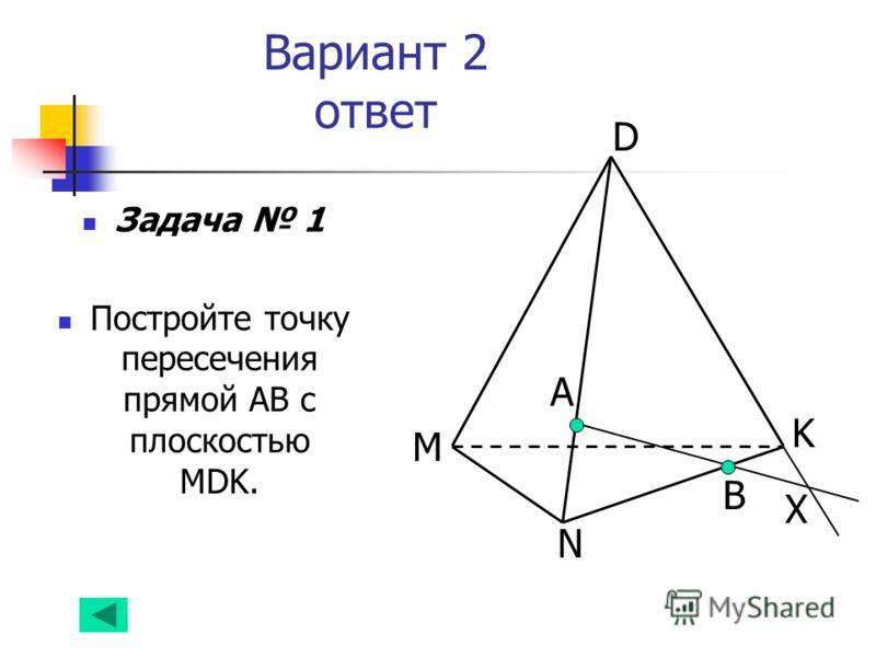 Вариант 2 ответ Задача 1 Постройте точку пересечения прямой АВ с плоскостью MDK. А B D K N M Х