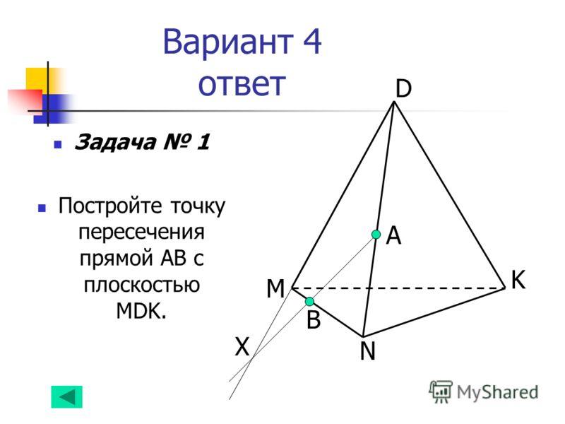 Вариант 4 ответ Задача 1 Постройте точку пересечения прямой АВ с плоскостью MDK. А B D K N M Х