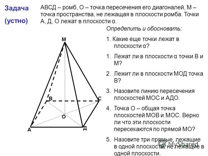 Задача (устно) А В С Д М О АВСД – ромб, О – точка пересечения его диагоналей, М – точка пространства, не лежащая в плоскости ромба. Точки А, Д, О лежат в плоскости α. Определить и обосновать: 1. Какие еще точки лежат в плоскости α? 1.Лежат ли в плоск