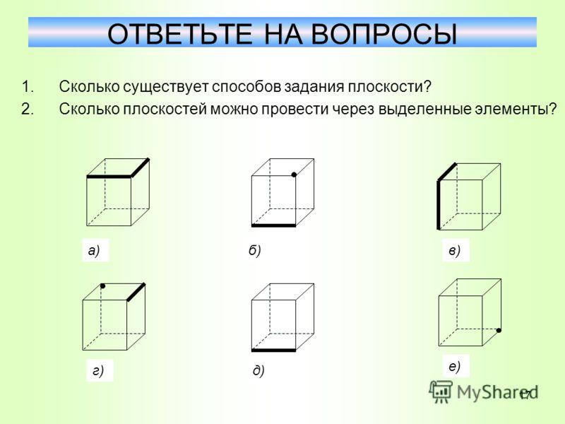 1.Сколько существует способов задания плоскости? 2.Сколько плоскостей можно провести через выделенные элементы? ОТВЕТЬТЕ НА ВОПРОСЫ а)б)в) г)д) е) 17
