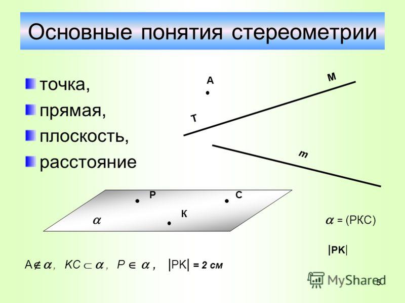 Основные понятия стереометрии точка, прямая, плоскость, расстояние А Т М m = (РКС) | PK | A, KC, P, | PK | = 2 см Р К С 5