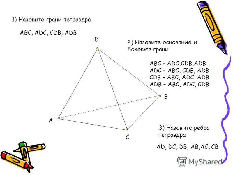 D B C A 1) Назовите грани тетраэдра ABC, ADC, CDB, ADB 2) Назовите основание и Боковые грани ABC – ADC,CDB,ADB ADC – ABC, CDB, ADB CDB – ABC, ADC, ADB ADB – ABC, ADC, CDB 3) Назовите ребра тетраэдра AD, DC, DB, AB,AC, CB