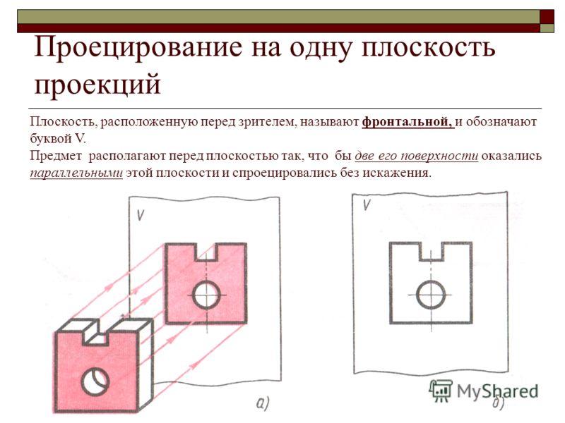 Проецирование на одну плоскость проекций Плоскость, расположенную перед зрителем, называют фронтальной, и обозначают буквой V. Предмет располагают перед плоскостью так, что бы две его поверхности оказались параллельными этой плоскости и спроецировали