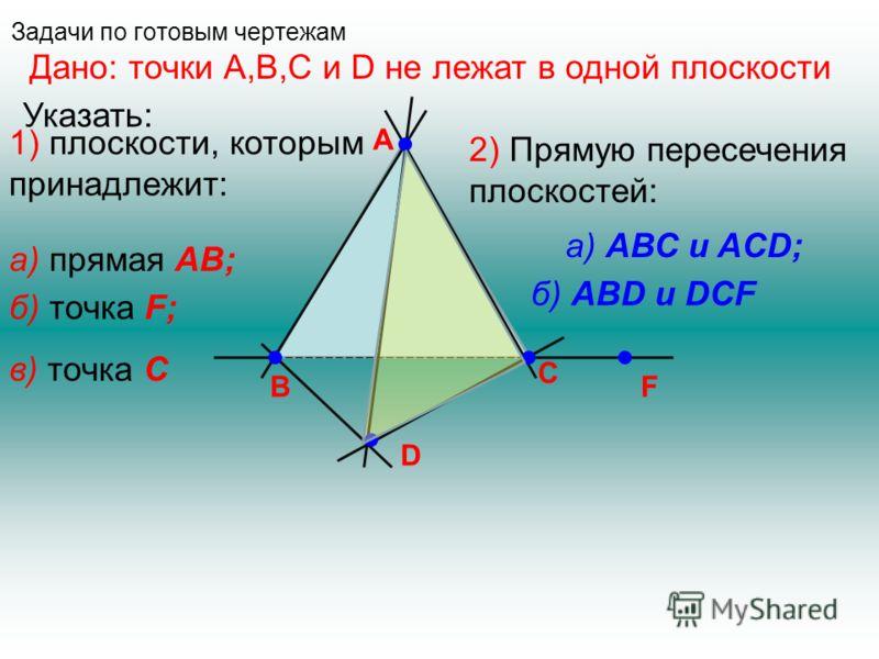 Задачи по готовым чертежам A D B C F Дано: точки А,В,С и D не лежат в одной плоскости Указать: 1) плоскости, которым принадлежит: а) прямая АВ; б) точка F; в) точка C 2) Прямую пересечения плоскостей: а) АВС и ACD; б) АВD и DCF