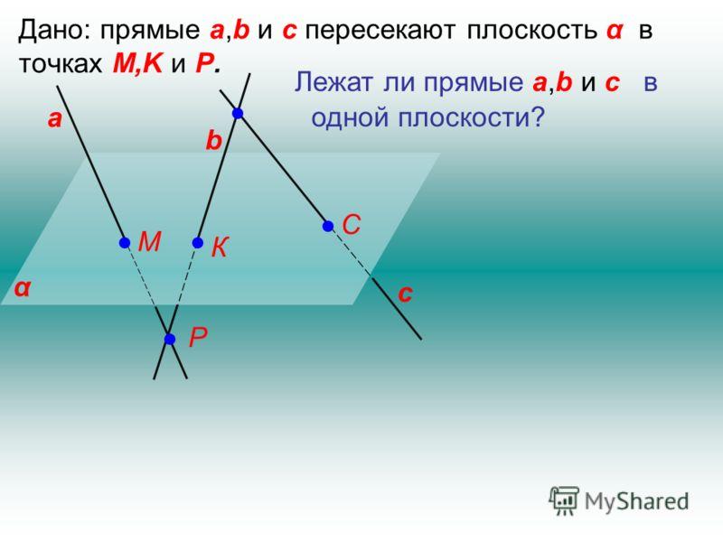 Дано: прямые a,b и c пересекают плоскость α в точках M,K и P. α а b c Лежат ли прямые a,b и c в одной плоскости? М К С Р
