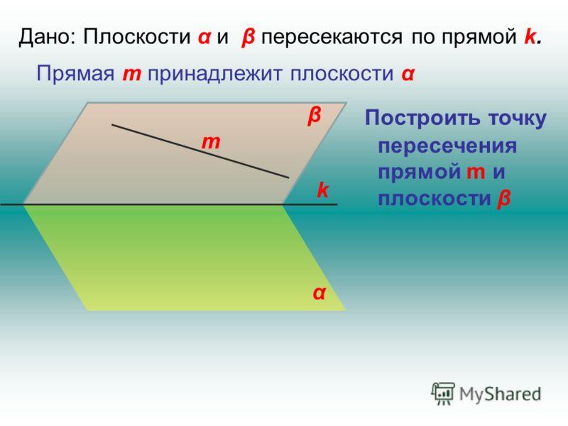 Дано: Плоскости α и β пересекаются по прямой k. k α β Прямая m принадлежит плоскости α m Построить точку пересечения прямой m и плоскости β