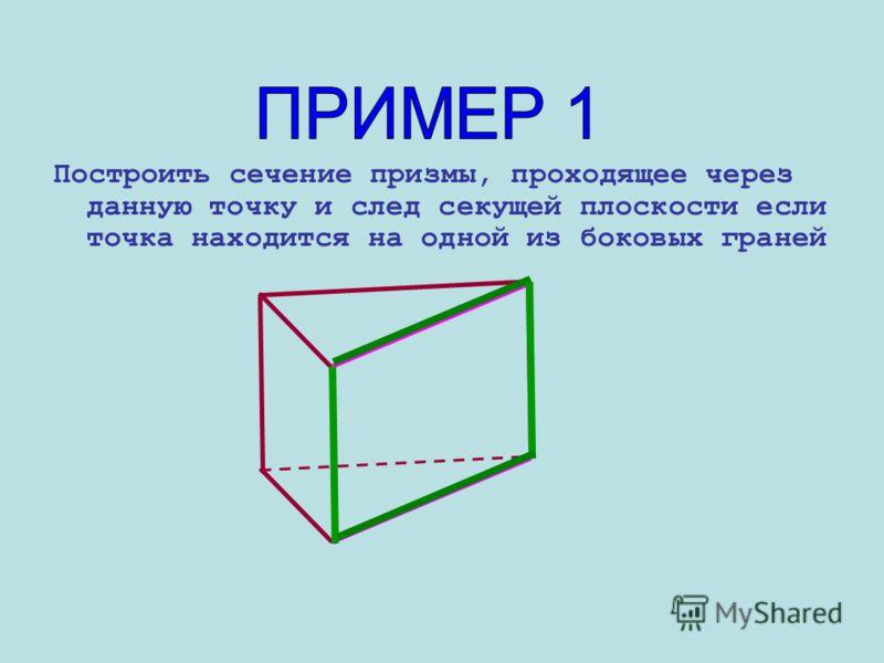 Метод следов Метод следов включает три важных пункта: Строится линия пересечения (след) секущей плоскости с плоскостью основания многогранника. Находим точки пересечения секущей плоскости с ребрами многогранника. Строим и заштриховываем сечение.