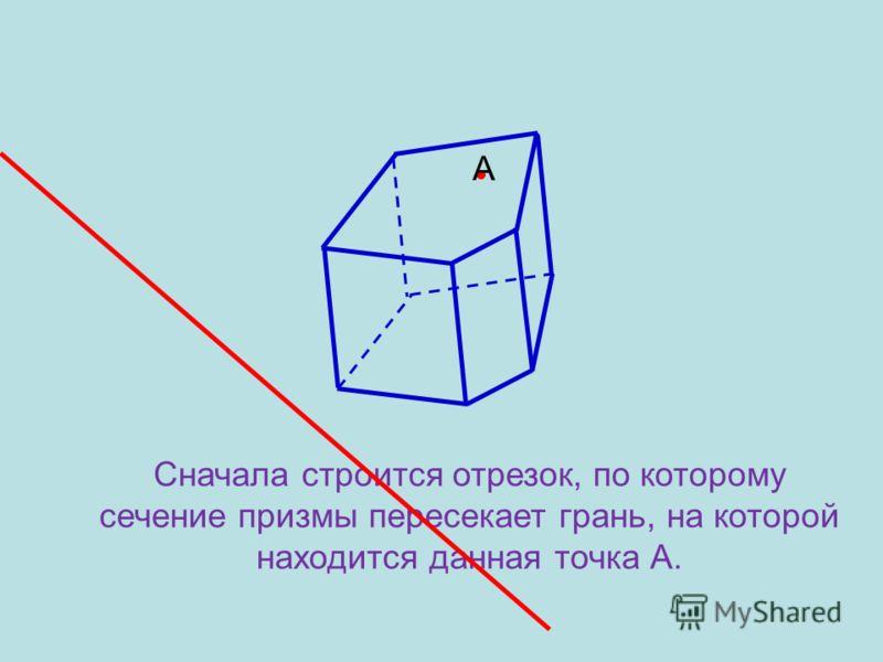 А Пусть точка А принадлежащая сечению находится на боковой грани