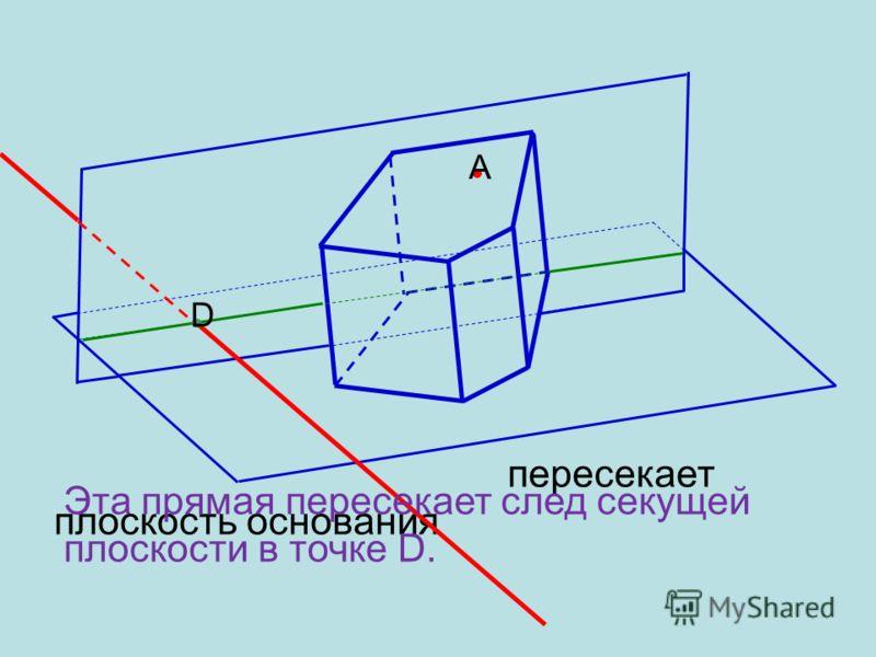 А Для этого построим прямую, по которой плоскость данной грани пересекает плоскость основания