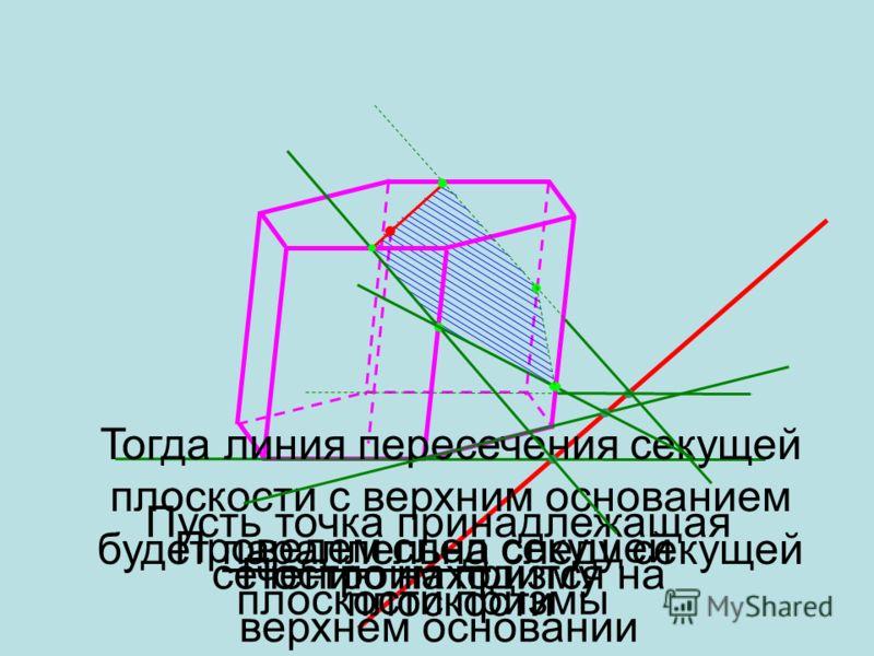 Построить сечение призмы, проходящее через данную точку и след секущей плоскости если данная точка находится на верхнем основании