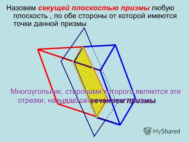 Плоская фигура, образовавшаяся при пересечении какой-либо плоскости с пространственной фигурой, называется плоским сечением или просто сечением этой фигуры.