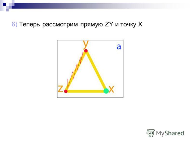 6) Теперь рассмотрим прямую ZY и точку X