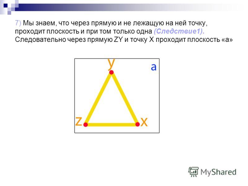 7) Мы знаем, что через прямую и не лежащую на ней точку, проходит плоскость и при том только одна (Следствие1). Следовательно через прямую ZY и точку X проходит плоскость «а»