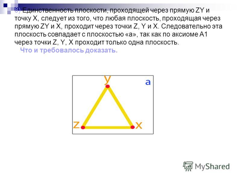 8) Единственность плоскости, проходящей через прямую ZY и точку X, следует из того, что любая плоскость, проходящая через прямую ZY и X, проходит через точки Z, Y и X. Следовательно эта плоскость совпадает с плоскостью «а», так как по аксиоме А1 чере