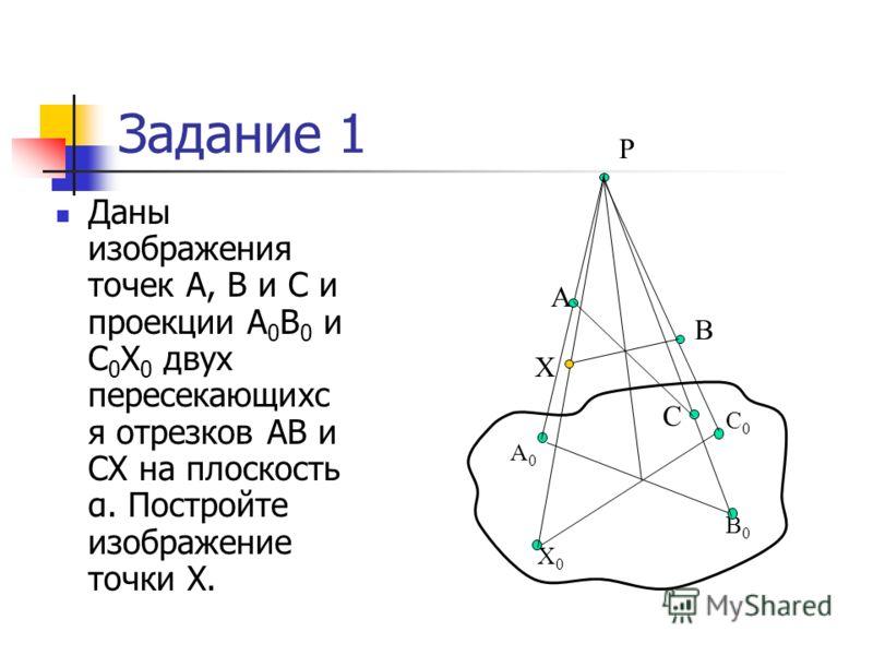 Задание 1 Даны изображения точек А, В и С и проекции А 0 В 0 и С 0 Х 0 двух пересекающихс я отрезков АВ и СХ на плоскость α. Постройте изображение точки Х. Р А0А0 В0В0 Х0Х0 С0С0 Х А В С