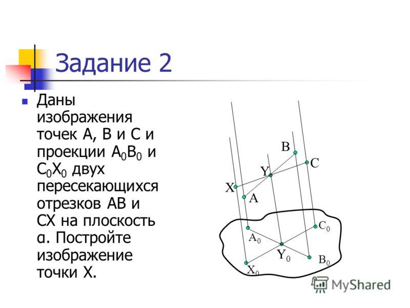 Задание 2 Даны изображения точек А, В и С и проекции А 0 В 0 и С 0 Х 0 двух пересекающихся отрезков АВ и СХ на плоскость α. Постройте изображение точки Х. А0А0 В0В0 Х0Х0 С0С0 А С В Y0Y0 Y X