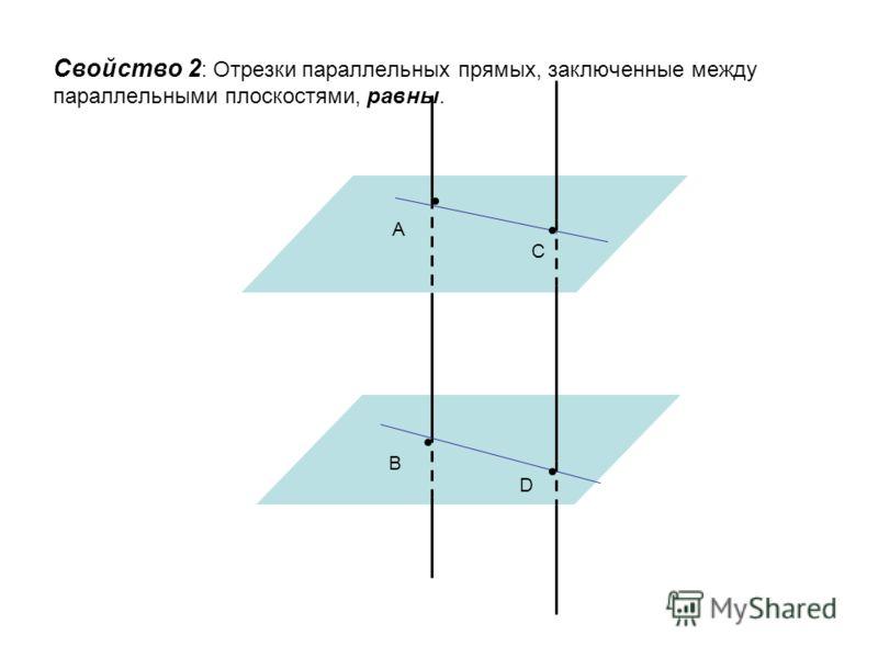 Свойство 2 : Отрезки параллельных прямых, заключенные между параллельными плоскостями, равны. A C B D