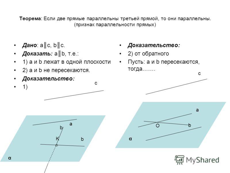 Теорема: Если две прямые параллельны третьей прямой, то они параллельны. (признак параллельности прямых) Дано: ac, bc. Доказать: ab, т.е.: 1) a и b лежат в одной плоскости 2) a и b не пересекаются. Доказательство: 1) Доказательство: 2) от обратного П